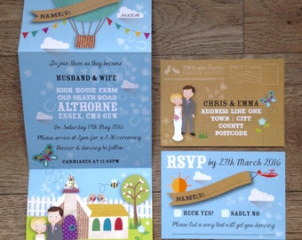 Heartfelt Collection, Wedding Stationery sample pack - including tri-fold invitation and RSVP postcard by Two Little Ducks