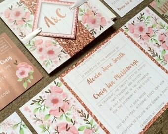 Wedding Invitations, Wedding Invite Set, Floral Wedding Invite, Wedding Stationery Samples, Watercolour Invitation, RSVP Postcard & Inserts