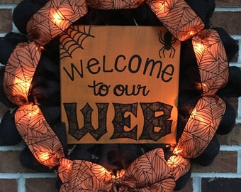 "18"" Black Burlap Welcome to our Web LED Lighted Halloween Wreath"