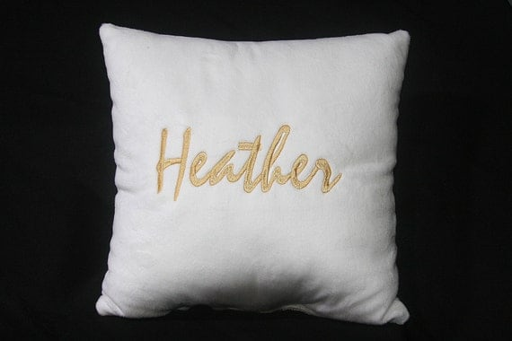 Customized Pillow (Name of your choice embroidered on Pillow) Heather Style
