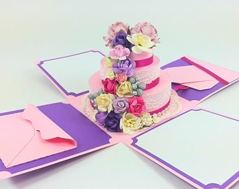 Handmade Wedding card in a box, pink theme Wedding pop up card