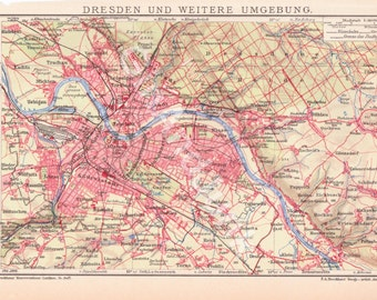 ANTIQUE MAP, Dresden Map, Dresden Maps, World Maps, World Map, European Map, Antique Map, Atlas, 1900 Maps, German Map, 1900s, Maps, Map