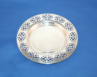 Vintage Oneida Silversmith Silver-plate Reticulated Candy Dish / Dresser Tray / Trinket Dish