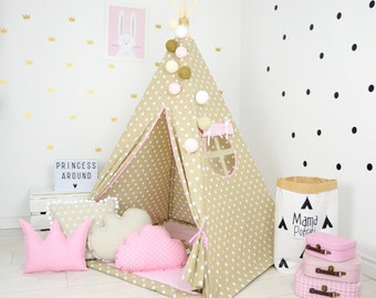 tipi zelt kinder,Kids Play Tent, tipi enfant, Childrens Teepee, Wigwam, Tente - Vanilla Queen[set with pillows]