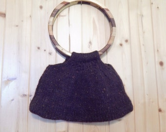 Handmade felted wool bags with wooden handles