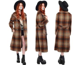 Vintage 60s 70s Wool SHADOW PLAID Peacoat Princess Trench Coat Grunge Mod Long Jacket L vtg