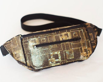 Limited Edition Iridescent Holographic Gold Geometric Men's Fanny Pack Bum Bag Festival Burning Man