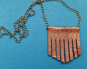 Faux leather, statement necklace, vegan leather, tribal jewellery, bib necklace, leather tassel, metallic, contemporary, copper, fringe