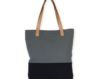 Tote Leather Handles. Shoulder Bag Grey\Black Canvas