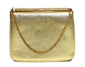 Vintage Nicholas Reich Metallic Gold Leather Purse, Gold Evening Bag