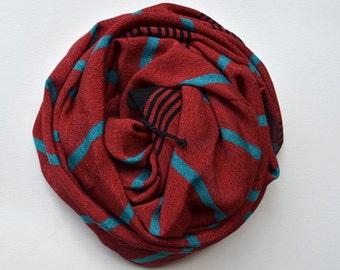 Silk Bamboo PESHTEMAL-  TURKISH TOWEL /  Handmade /  Fouta towel / yoga towel  / red turquoise  black stripes / shawl / scarf 034