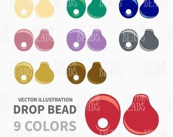 Miyuki Drop Bead Clip Art Set. Beads Vector Graphics - ai, eps, pdf, png