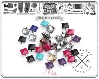 100PCS 8MM COLOR PYRAMID Prong Studs Glam Rock Biker Nailhead Leather Craft