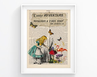 Alice In Wonderland Vintage Illustration Print Decorative Art Book Page Upcycled Page Print Wall decor Retro Poster Vintage Book print 084