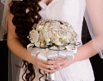 "8"" Classic Brooch Bouquet with Black & White Accents"