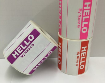 "75 Hello My Name Is Stickers 3-1/2"" x 2-3/8"" Name Tag Identification Labels - Pink, Red & Purple"