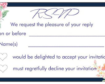 10 RSVP REPLY CARDS Navy blue and white pink flowers vintage floral white print text for including with wedding invitations