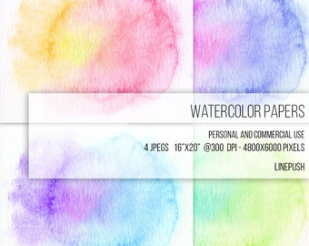 SALE! Watercolor Papers, Digital Papers, Background, Rainbow colors, Pastel, Clipart Texture Pack Wallpapers Backgrounds ClipArt Frame Card