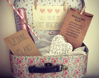 Will You Be My Chief Bridesmaid? Vintage Style Suitcase Gift Set