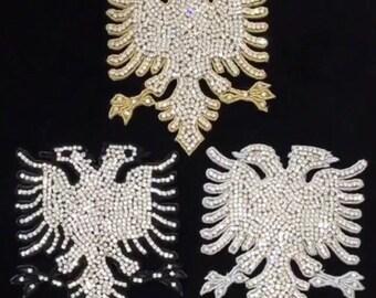 Crystallized Albanian Eagle Patch / Embellishment