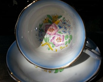 Vintage Royal Albert Crown China wide mouth footed tea cup and saucer from 1930's