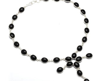 Black Onyx Necklace, 925 Sterling Silver, Unique only 1 piece available! , color black, weight 25.1g, #42499