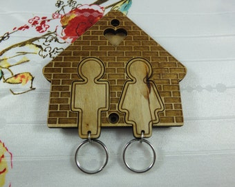 Laser cut & engraving key holder for wall