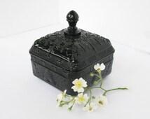Black Milk Glass Candy Jar Honeybee Box