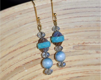 Teal Cathedral Glass Beaded Dangle Earrings