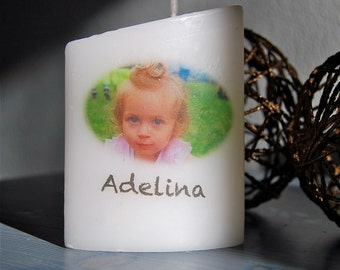 Customized candle with name and photo.