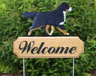 Bernese Mountain Dog Welcome Garden Stake