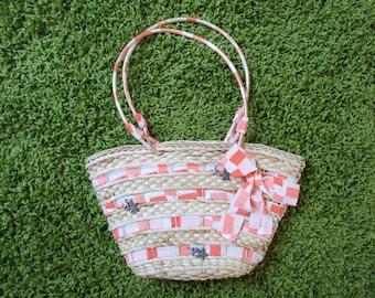 Wicker handbag, orange, salmon, marine style