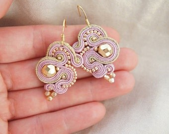 earrings braid soutache powder pink gold