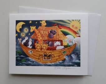 Noah's Ark Blank Note Card, 4x6 Card with Envelope, Noah and animals art painting signed by Beth Stephens