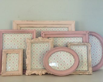 Distressed Shabby Chic Pink Nursery / Wedding , Cottage,Picture Frames MADE TO ORDER / Set of 8