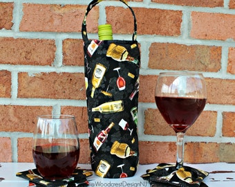 The Traveler's Coaster Set & Insulated Wine Tote – Fabric Tote – Insulated Wine Tote – Single Bottle Carrier – Insulated Single Bottle Tote