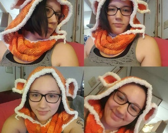 Crocheted hoodscarf with Fox ears