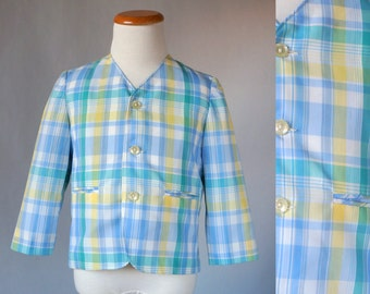 1960's Pastel Plaid Boys Easter Jacket / Size 4T / Vintage Spring Jacket / Boys Plaid Blazer / Vintage Boys Blazer / Boys Easter Jacket