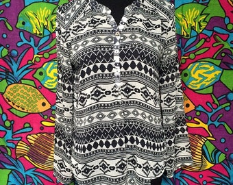 Tribal Sheer Long Sleeve Top Size SMALL