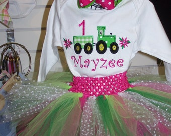 Girl's John Deere Tractor 1st Birthday Outfit Onesie Tutu FREE Hair Bow Green Hot Pink Little Girl Baby