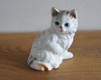 Vintage Bone China Fluffy Cat Kitten Figurine Ornament