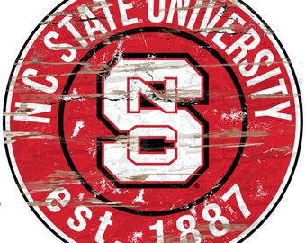 """NCAA NC State Round Distressed Established Wood Sign 24"""" Diameter"""
