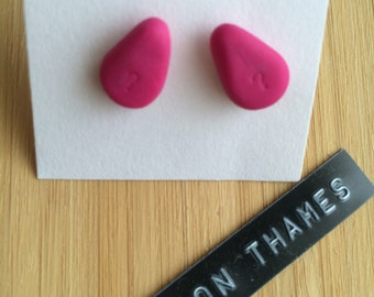 Bubble Gum Pink Teardrop Stud Earrings