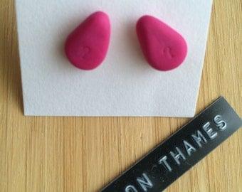 Bubble Gum Pink Teardrop Stud Earrings