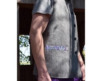 Grey Wool Psychedelic Pocket Waistcoat