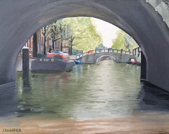 Amsterdam Canal - original oil painting 16x12