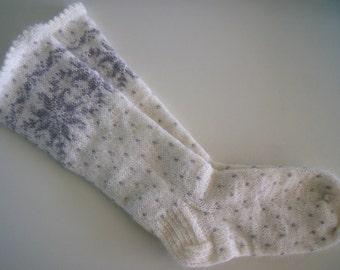 hand knitted. long socks