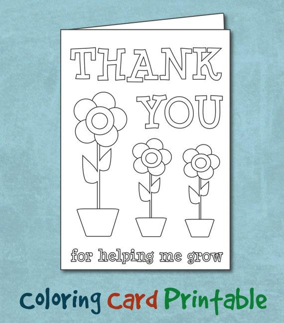 Items Similar To Coloring Teacher Thank You Card Printable