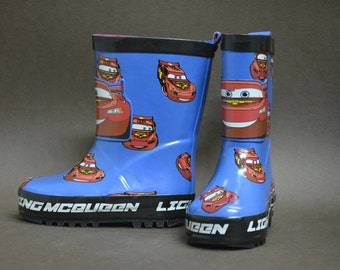 Baby Rubber Boots, Children Fashion, Baby Boots,McQueen Boots,  Baby Fashion, Children Kids Gumboots, Cartoon Character McQueen