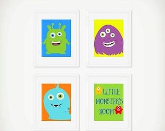 ON SALE Set of 4 Little Monster Art Prints, Printable Monster Art, Instant Download, Boys Room Decor, Cute Monster Art Print for Boys Room,